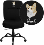 Embroidered HERCULES Series Big & Tall 400 lb. Rated Black Fabric Executive Swivel Chair [WL-735SYG-BK-EMB-GG]
