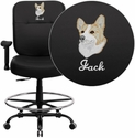 Embroidered HERCULES Series 400 lb. Capacity Big & Tall Black Leather Drafting Stool with Arms and Extra WIDE Seat