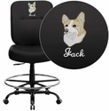 Embroidered HERCULES Series 400 lb. Capacity Big & Tall Black Leather Drafting Stool with Extra WIDE Seat
