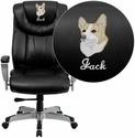 Embroidered HERCULES Series 400 lb. Capacity Big & Tall Black Leather Office Chair with Arms