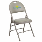 Embroidered HERCULES Series Ultra-Premium Triple Braced Gray Vinyl Metal Folding Chair with Easy-Carry Handle [HA-MC705AV-3-GY-EMB-GG]
