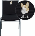 Embroidered HERCULES Series Heavy Duty, 3'' Thickly Padded, Black Patterned Upholstered Stack Chair with Arms