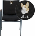 Embroidered HERCULES Series Heavy Duty,3'' Thickly Padded,Black Patterned Upholstered Stack Chair with Arms and Ganging Bracket