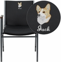 Embroidered HERCULES Series Heavy Duty,3'' Thickly Padded,Black Vinyl Stack Chair with Arms and Ganging Bracket