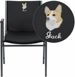 Embroidered HERCULES Series Heavy Duty, 3'' Thickly Padded, Black Vinyl Stack Chair with Arms and Ganging Bracket [XU-60154-BK-VYL-EMB-GG]