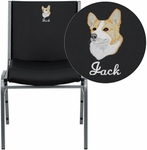 Embroidered HERCULES Series Heavy Duty,3'' Thickly Padded,Black Vinyl Stack Chair with Ganging Bracket [XU-60153-BK-VYL-EMB-GG]