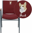 Embroidered HERCULES Series Heavy Duty, 3'' Thickly Padded, Burgundy Patterned Upholstered Stack Chair with Arms