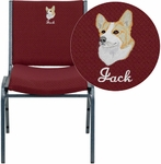 Embroidered HERCULES Series Heavy Duty,3'' Thickly Padded,Burgundy Patterned Upholstered Stack Chair with Ganging Bracket [XU-60153-BY-EMB-GG]