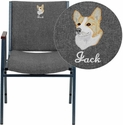 Embroidered HERCULES Series Heavy Duty, 3'' Thickly Padded, Gray Fabric Upholstered Stack Chair with Arms