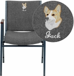 Embroidered HERCULES Series Heavy Duty,3'' Thickly Padded,Gray Fabric Upholstered Stack Chair with Arms and Ganging Bracket [XU-60154-GY-EMB-GG]