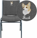 Embroidered HERCULES Series Heavy Duty, 3'' Thickly Padded, Gray Upholstered Stack Chair