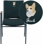 Embroidered HERCULES Series Heavy Duty,3'' Thickly Padded,Hunter Green Patterned Upholstered Stack Chair with Arms and Ganging Bracket [XU-60154-GN-EMB-GG]