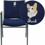 Embroidered HERCULES Series Heavy Duty, 3'' Thickly Padded, Navy Patterned Upholstered Stack Chair with Arms and Ganging Bracket [XU-60154-NVY-EMB-GG]