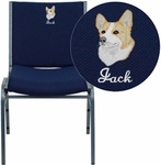 Embroidered HERCULES Series Heavy Duty,3'' Thickly Padded,Navy Blue Patterned Upholstered Stack Chair with Ganging Bracket [XU-60153-NVY-EMB-GG]