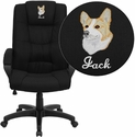 Embroidered High Back Black Fabric Executive Swivel Office Chair