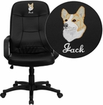Embroidered High Back Black Glove Vinyl Executive Swivel Chair with Arms [H8021-EMB-GG]
