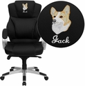 Embroidered High Back Black Leather Contemporary Executive Swivel Office Chair