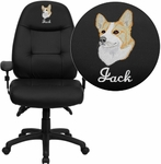 Embroidered High Back Black Leather Executive Swivel Office Chair [BT-2350-BK-EMB-GG]