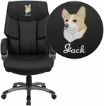 Embroidered High Back Black Leather Executive Swivel Office Chair [BT-9123-BK-EMB-GG]