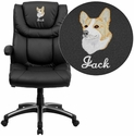 Embroidered High Back Black Leather Executive Office Chair