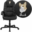 Embroidered High Back Black Leather Executive Swivel Office Chair