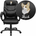 Embroidered High Back Black Leather Overstuffed Executive Office Chair