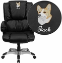 Embroidered High Back Black Leather OverStuffed Executive Swivel Office Chair