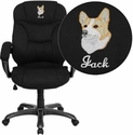 Embroidered High Back Black Microfiber Upholstered Contemporary Office Chair