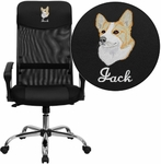 Embroidered High Back Black Leather and Mesh Swivel Task Chair [BT-905-EMB-GG]