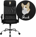 Embroidered High Back Black Leather and Mesh Swivel Task Chair