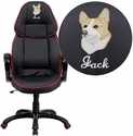 Embroidered High Back Black Vinyl Executive Swivel Office Chair with Red Piping Border