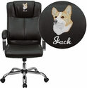 Embroidered High Back Brown Leather Executive Office Chair