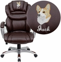 Embroidered High Back Brown Leather Executive Swivel Office Chair with Leather Padded Loop Arms
