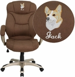 Embroidered High Back Brown Microfiber Contemporary Executive Swivel Chair with Arms [GO-725-BN-EMB-GG]