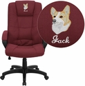 Embroidered High Back Burgundy Fabric Executive Office Chair