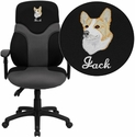 Embroidered High Back Ergonomic Black and Gray Mesh Task Chair with Adjustable Arms