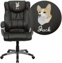 Embroidered High Back Espresso Brown Leather Executive Office Chair