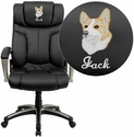 Embroidered High Back Folding Black Leather Executive Office Chair