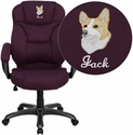 Embroidered High Back Grape Microfiber Upholstered Contemporary Office Chair