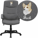 Embroidered High Back Gray Fabric Executive Swivel Office Chair