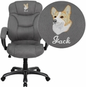 Embroidered High Back Gray Microfiber Contemporary Executive Swivel Office Chair