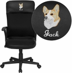 Embroidered High Back Black Leather and Mesh Executive Swivel Office Chair [CP-A142A01-EMB-GG]
