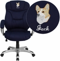 Embroidered High Back Navy Blue Microfiber Contemporary Executive Swivel Office Chair