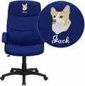 Embroidered High Back Navy Blue Fabric Executive Swivel Office Chair