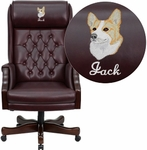 Embroidered High Back Traditional Tufted Burgundy Leather Executive Swivel Chair with Arms [KC-C696TG-EMB-GG]