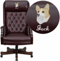 Embroidered High Back Traditional Tufted Burgundy Leather Executive Office Chair