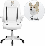 Embroidered High Back White Leather Executive Swivel Chair with Flip-Up Arms [CH-CX0176H06-WH-EMB-GG]