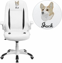 Embroidered High Back White Leather Executive Swivel Office Chair with Flip-Up Arms