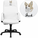 Embroidered High Back White Leather Executive Swivel Office Chair with Memory Foam Padding