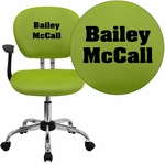 Embroidered Mid-Back Apple Green Mesh Swivel Task Chair with Chrome Base and Arms [H-2376-F-GN-ARMS-EMB-GG]